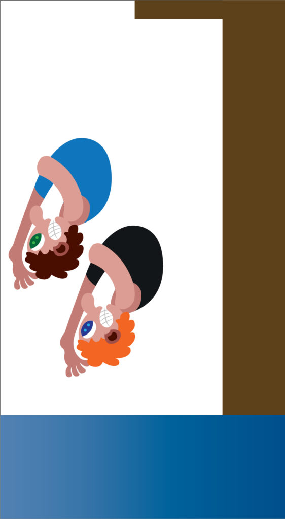 Vector Issue #6234: Synchronized diving sport, two athletes diving in a synchronized manner