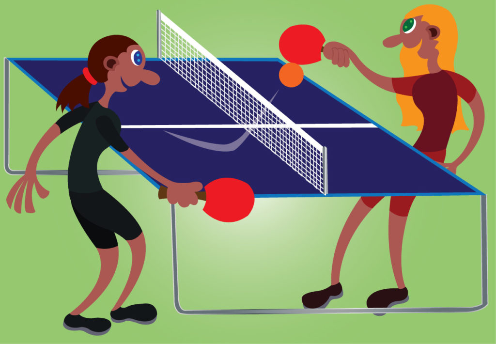 Vector Issue #6235: two table tennis champions challenge one another