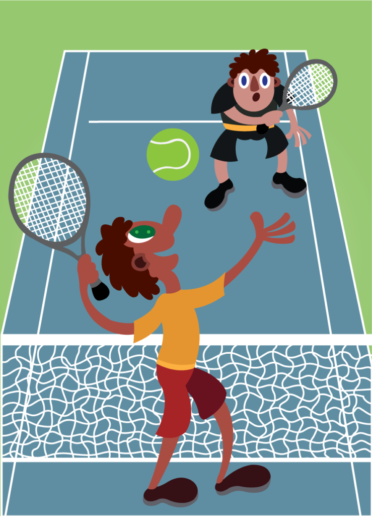 Vector Issue #6240: Two guys having a fun time playing tennis