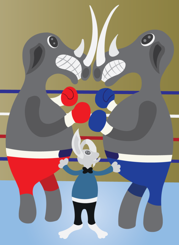 Vector Issue #6243: Two rhinos ready to have a fierce fist fight