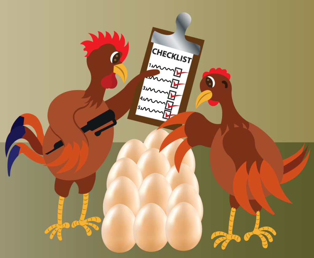 Vector Issue #6361: The long Checklist, two chicken check their eggs to confirm they are all present,
