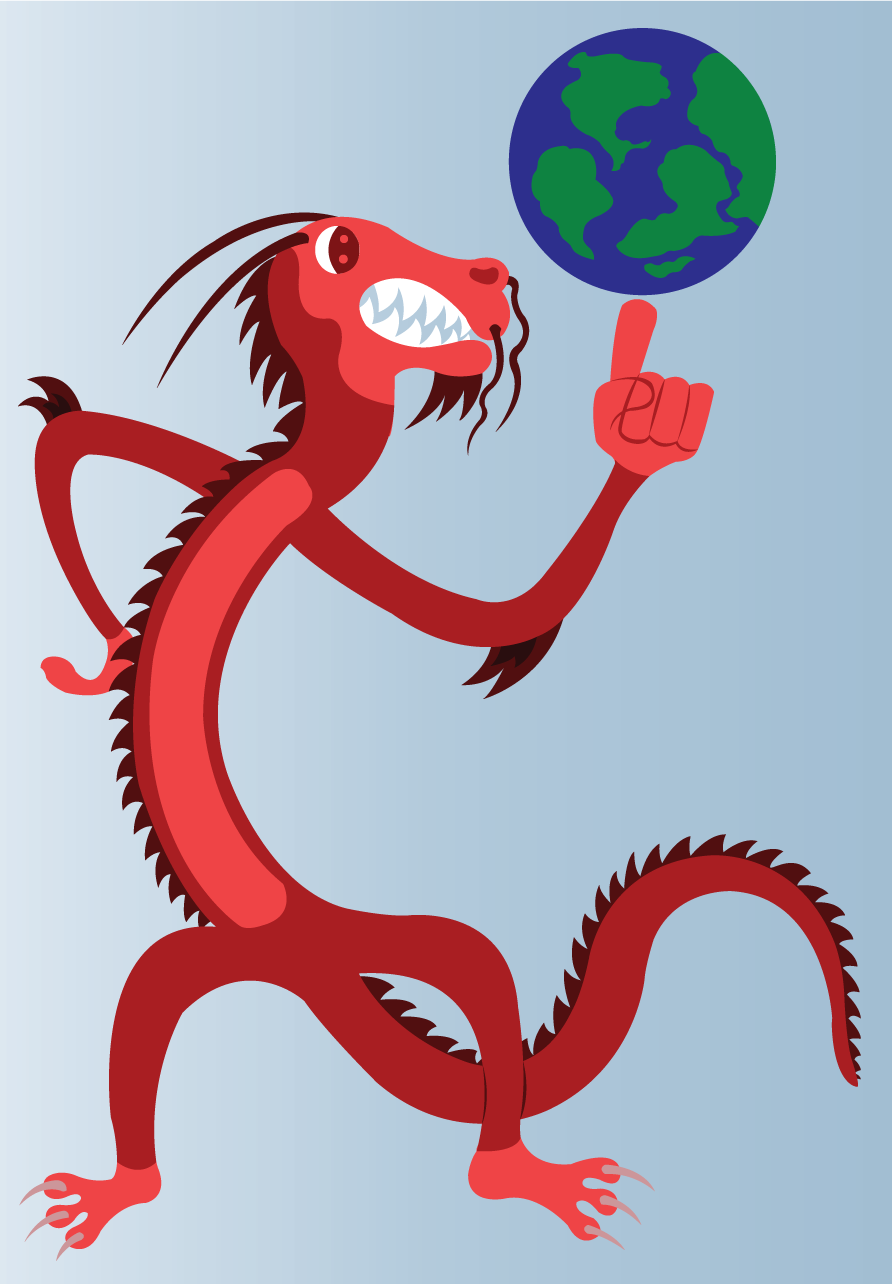 Vector Issue #6640: The Dragon with the Globe-A dragon holding in his hands a prototype of the globe