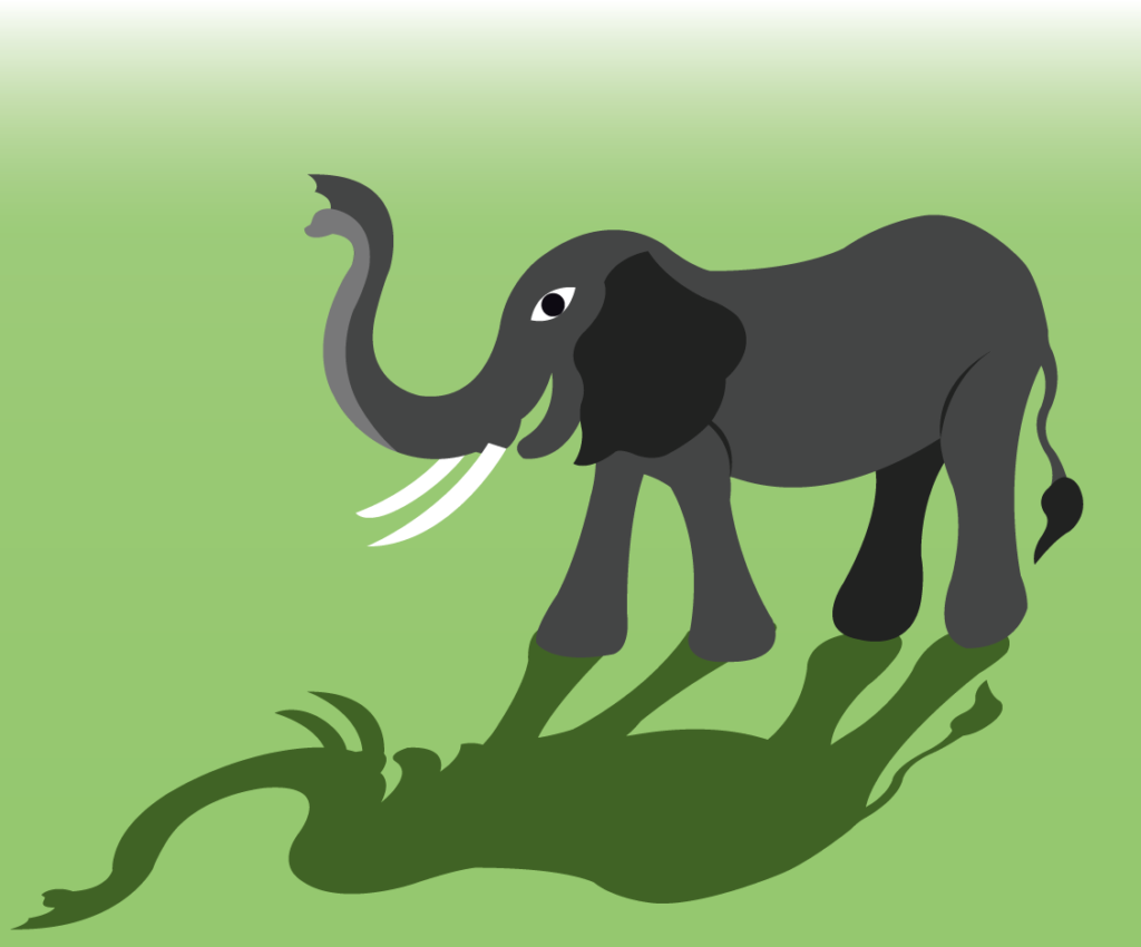Vector Issue #6362: an African elephant raising its trunk
