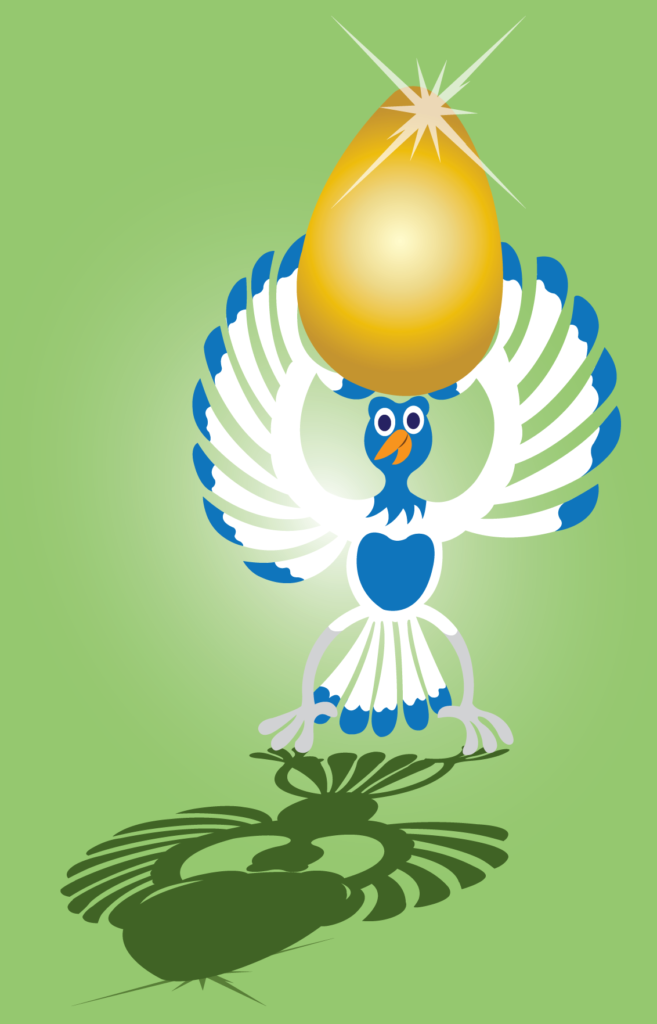 Vector Issue #6364: The goose that lays the golden egg, a goose holds up a golden egg