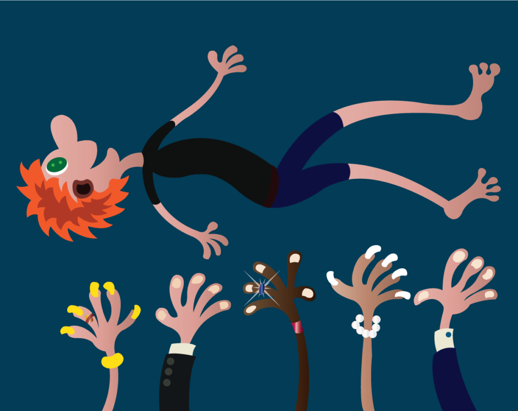 Vector Issue #6369: Thrown into the air, Coworkers throw one of their own into the air as a form of celebration
