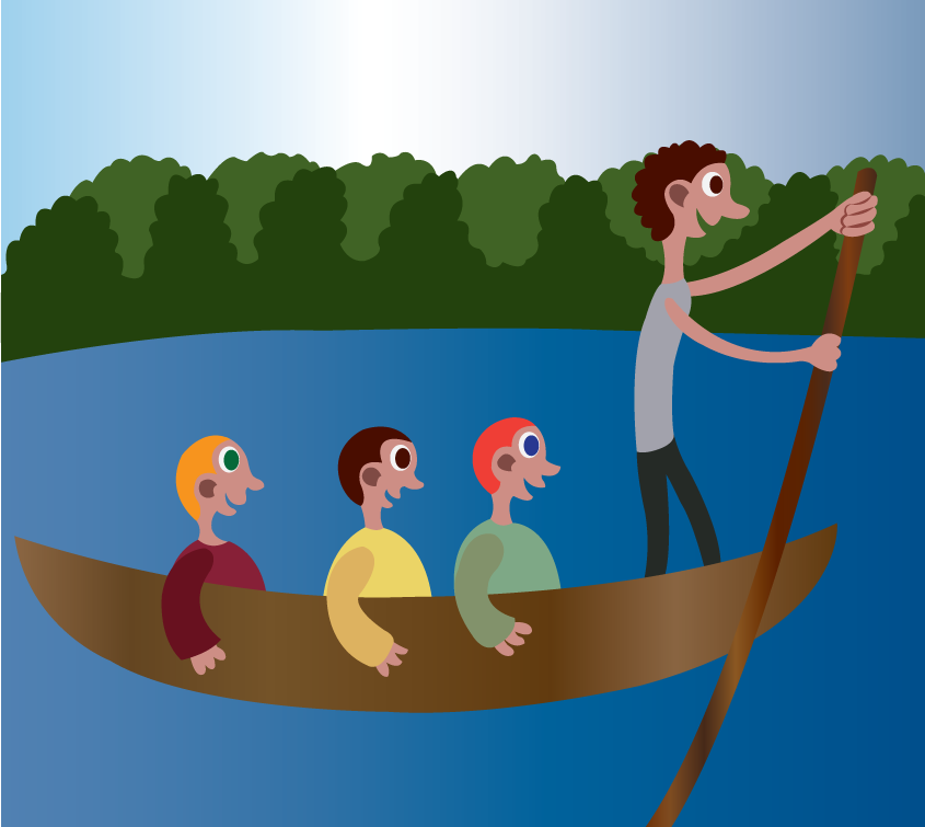 Vector Issue #6116: A bunch of tourists being canoed across a river.