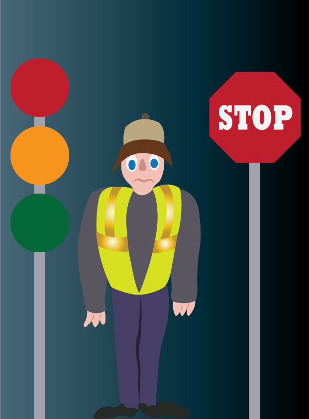 Vector Issue #6118: an angry traffic police standing in the middle of the road