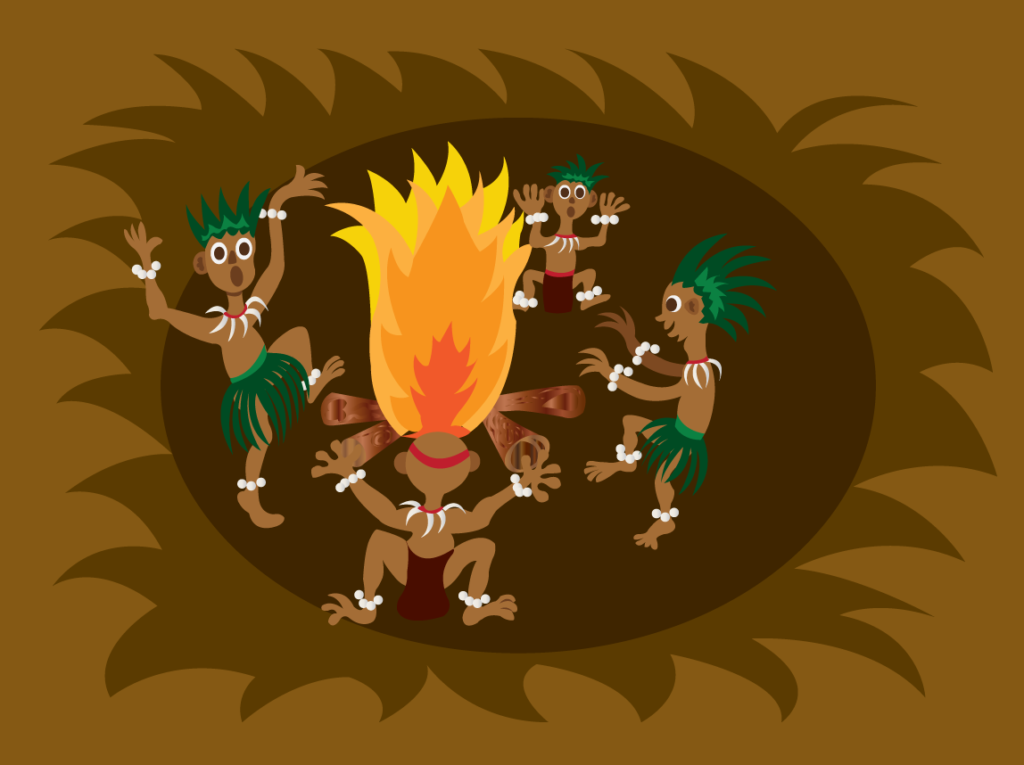 Vector Issue #6443: Tribal dance 1, a bunch of tribesmen dancing around the fireplace