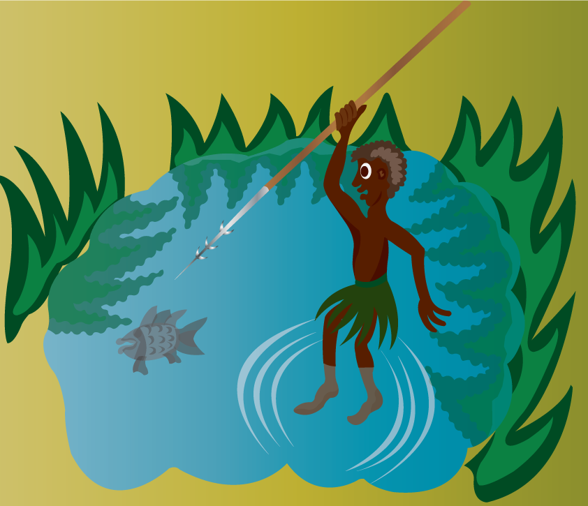 Vector Issue #6445: A tribal fisherman fishing in a pond