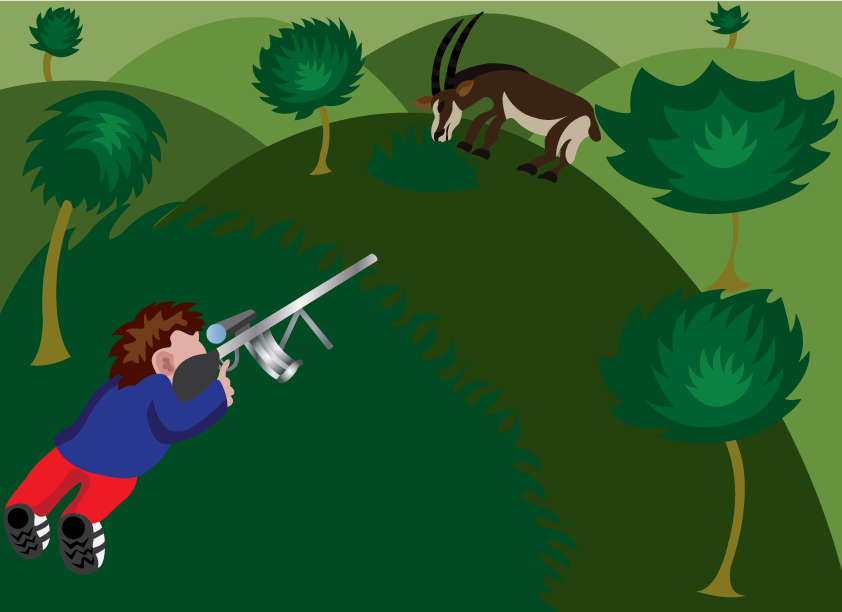 Vector Issue #6442: The Great Trophy Hunter, a wildlife trophy hunter aiming at a sable antelope