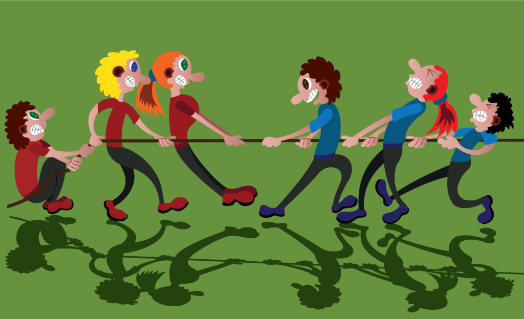 Vector Issue #6245: two opposing teams compete in a tug of war