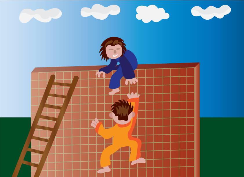 Vector Issue #6447: Up the wall, a kid helping his friend climb a wall