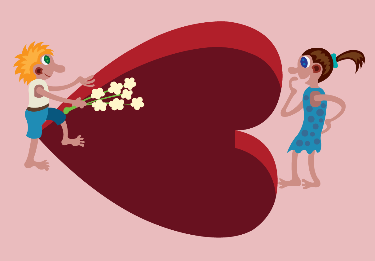 Vector Issue #6643: Valentine Gifts 2-A little boy handing over a flower to a little girl