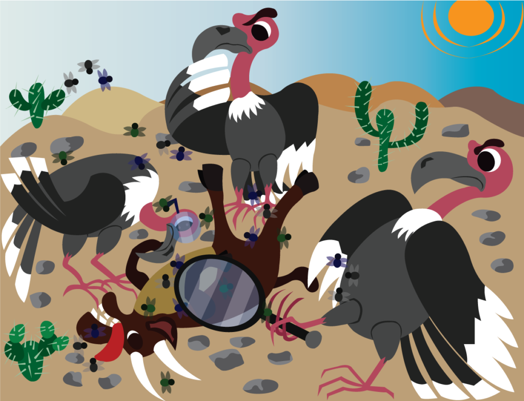 Vector Issue #6373: Vulture Food, Disgusted Vultures Stand to Inspect a Carcass