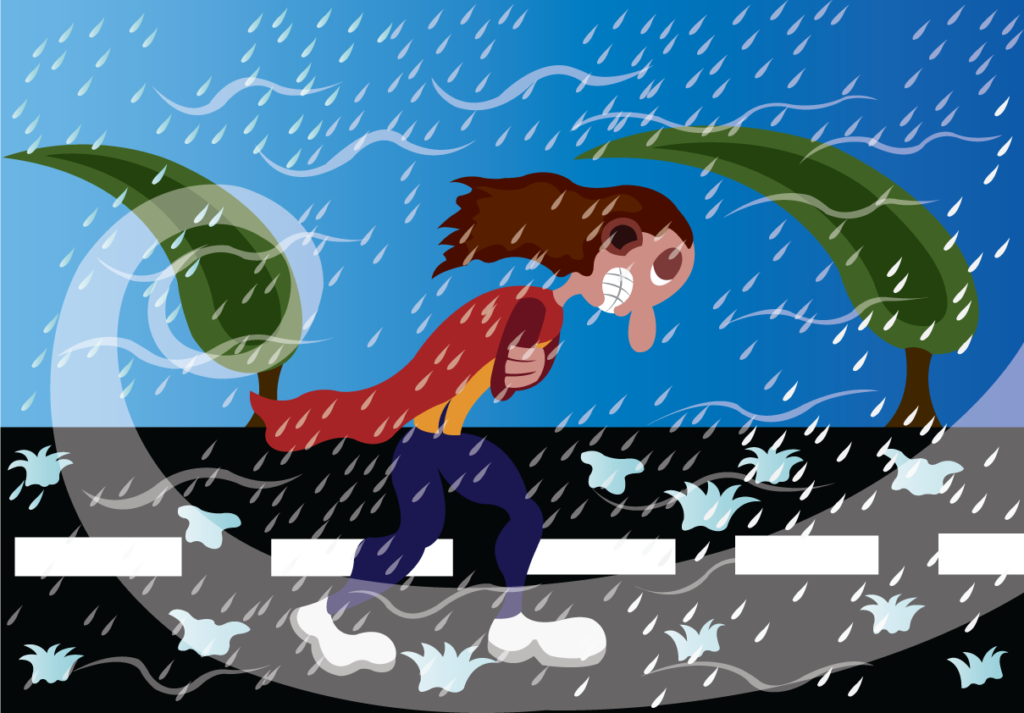Vector Issue #6374: Walking in the Storm, A traveler caught out in a fierce Hailstorm