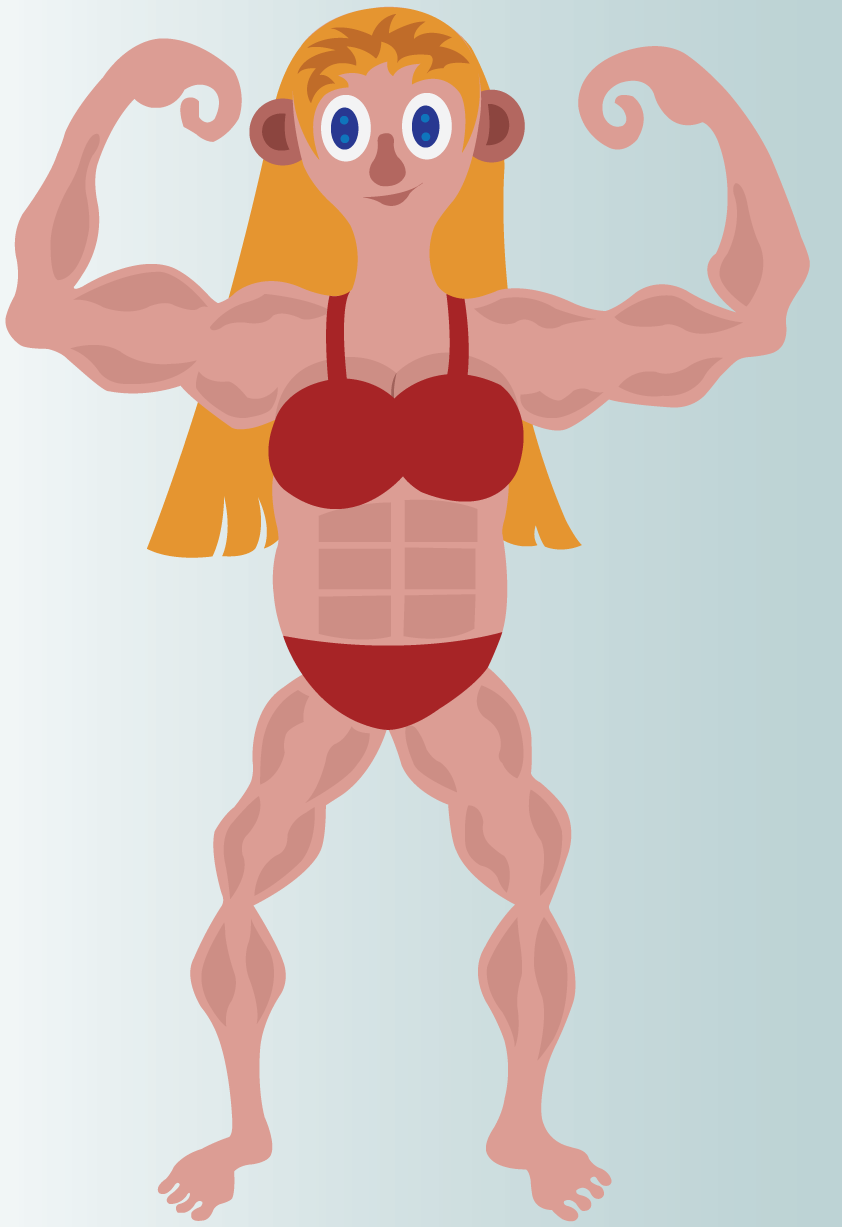 Vector Issue #6645: Warrior Woman 3-A female bodybuilder and fighter flexes her muscles