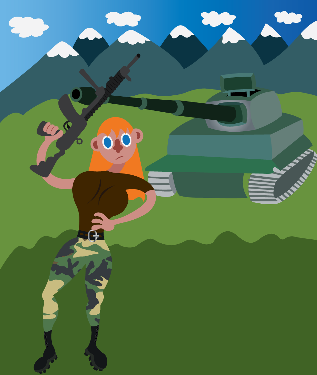 Vector Issue #6646: Warrior Woman 4-A commando lady stands next to a tank