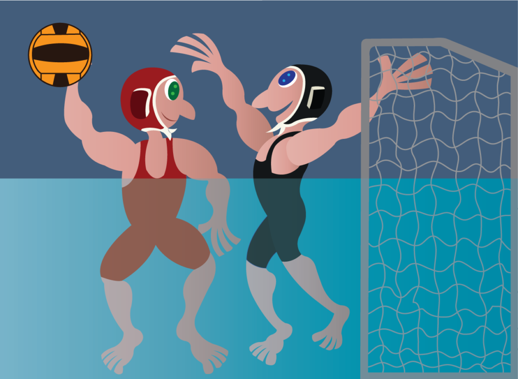 Vector Issue #6248: athletes compete in a water volleyball sport