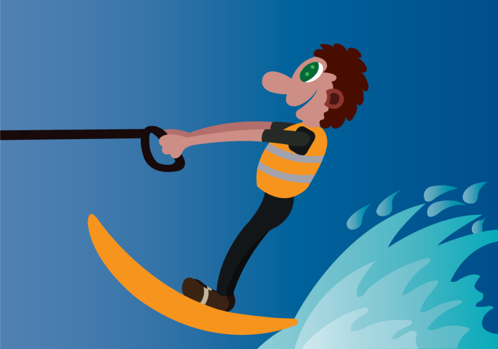 Vector Issue #6247: a water skier rides on a wakeboard