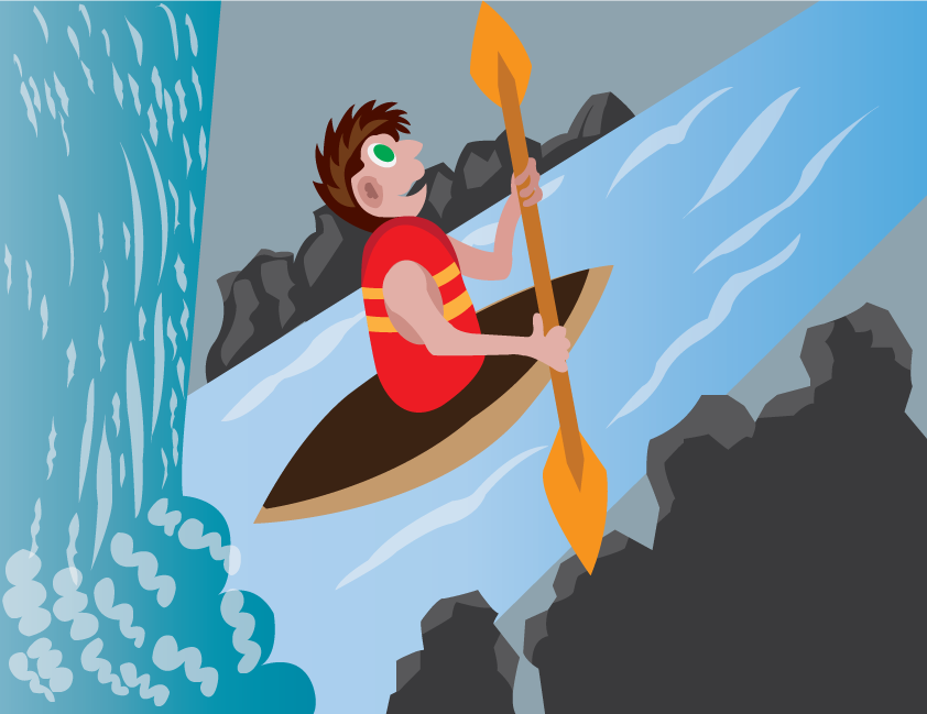 Vector Issue #6249: Rowing Down The Waterfall, a junior enjoying himself in white-water rafting kind of sport
