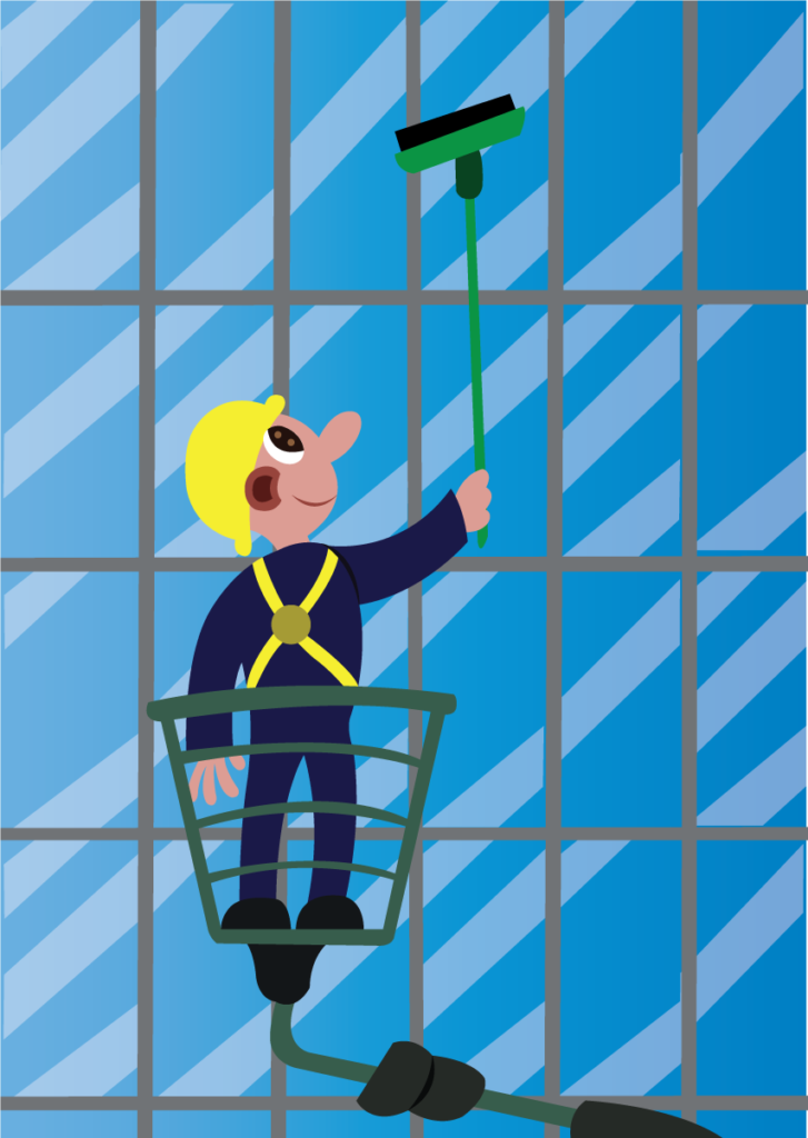 Vector Issue #6128: A window cleaner busy at work,