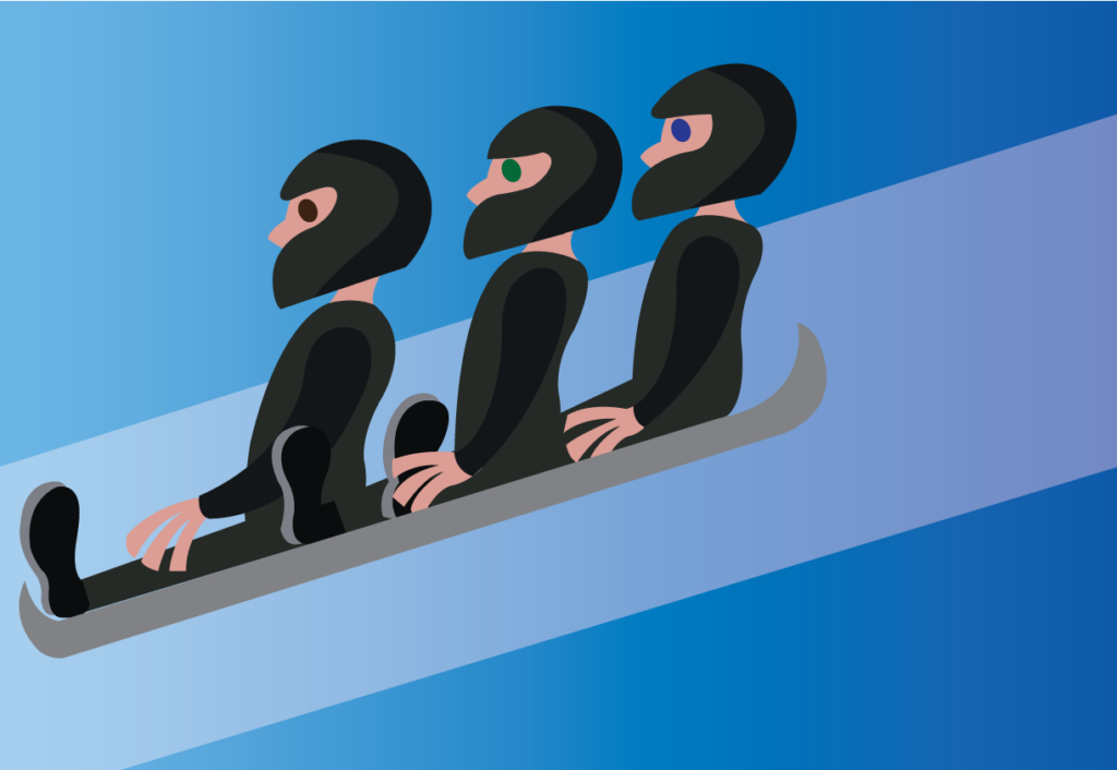 Vector Issue #6251: three wok racers slide down the ice