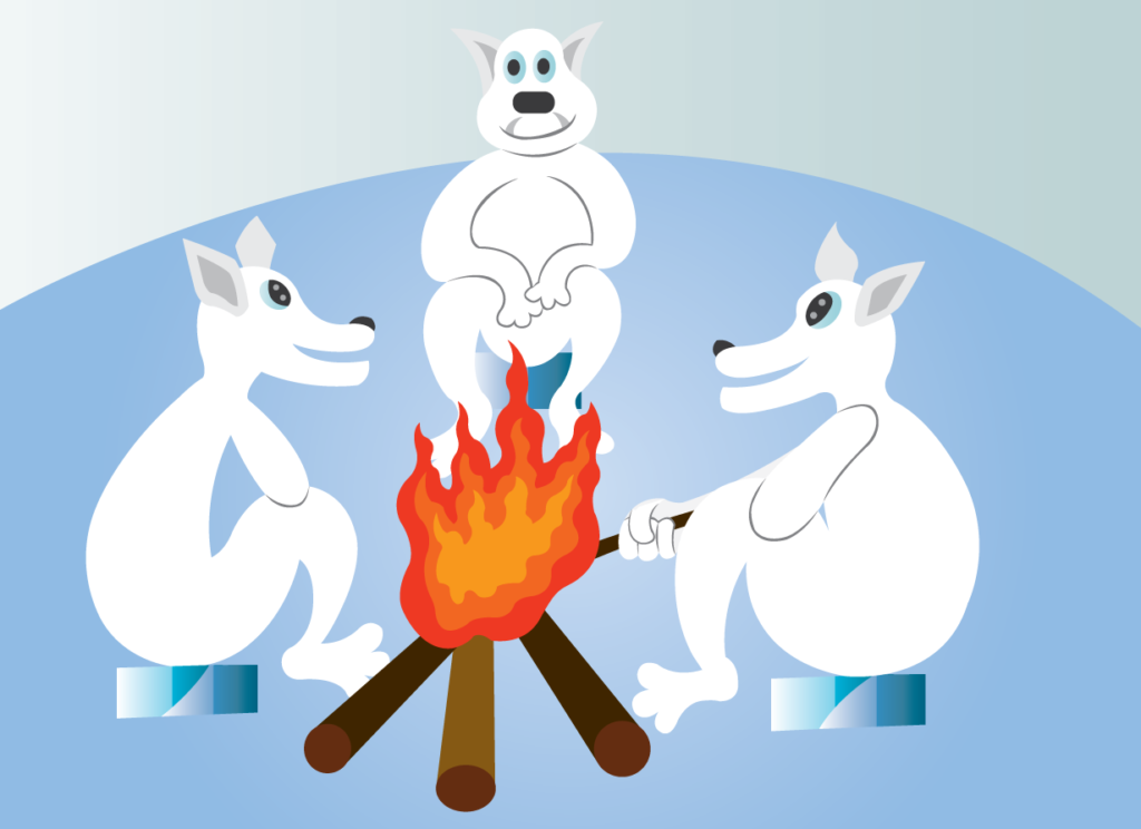 Vector Issue #6380: Worming up a little bit, A group of polar bears warm themselves at the fireplace in the Cold Winter Evening
