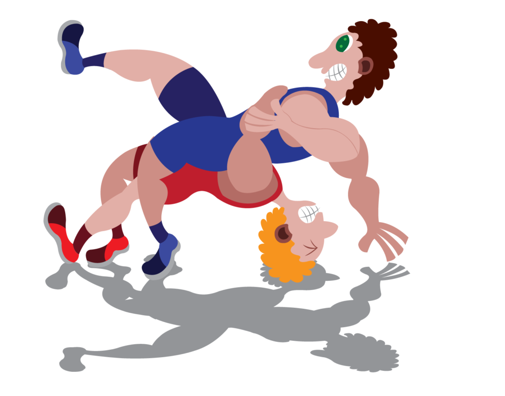 Vector Issue #6252: two wrestlers struggle with one another in a really tough match