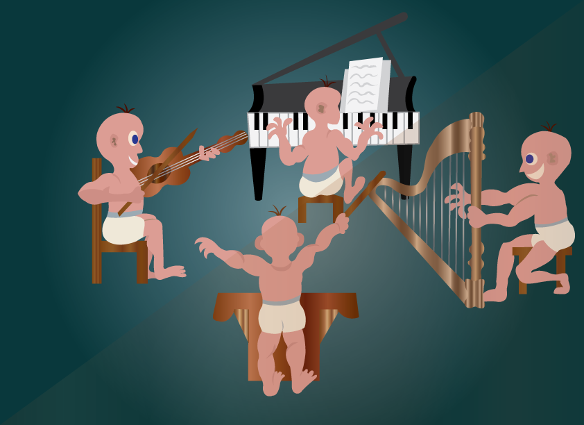 Vector Issue #6387: kids performing in an orchestra