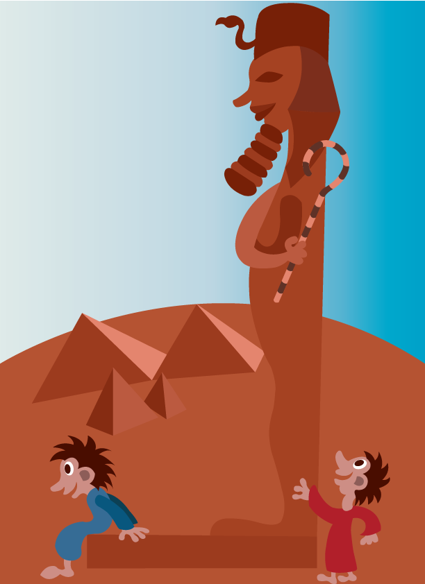 Vector Issue #6461: Ancient Egypt 4-Kids playing next to an Egyptian Statue