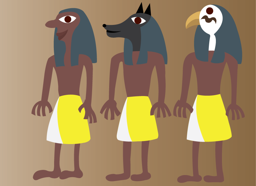 Vector Issue #6464: Ancient Egyptian Art 3-A linear representation of ancient Egyptian gods