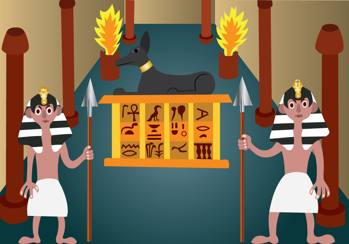 Vector Issue #6466: Ancient Egyptian Treasure-Ancient Egyptian Guards standing at a tomb entrance guarding its treasure