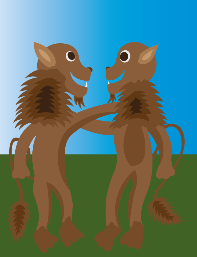 Vector Issue #6472: Lion best friends, two old buddies hugging one another