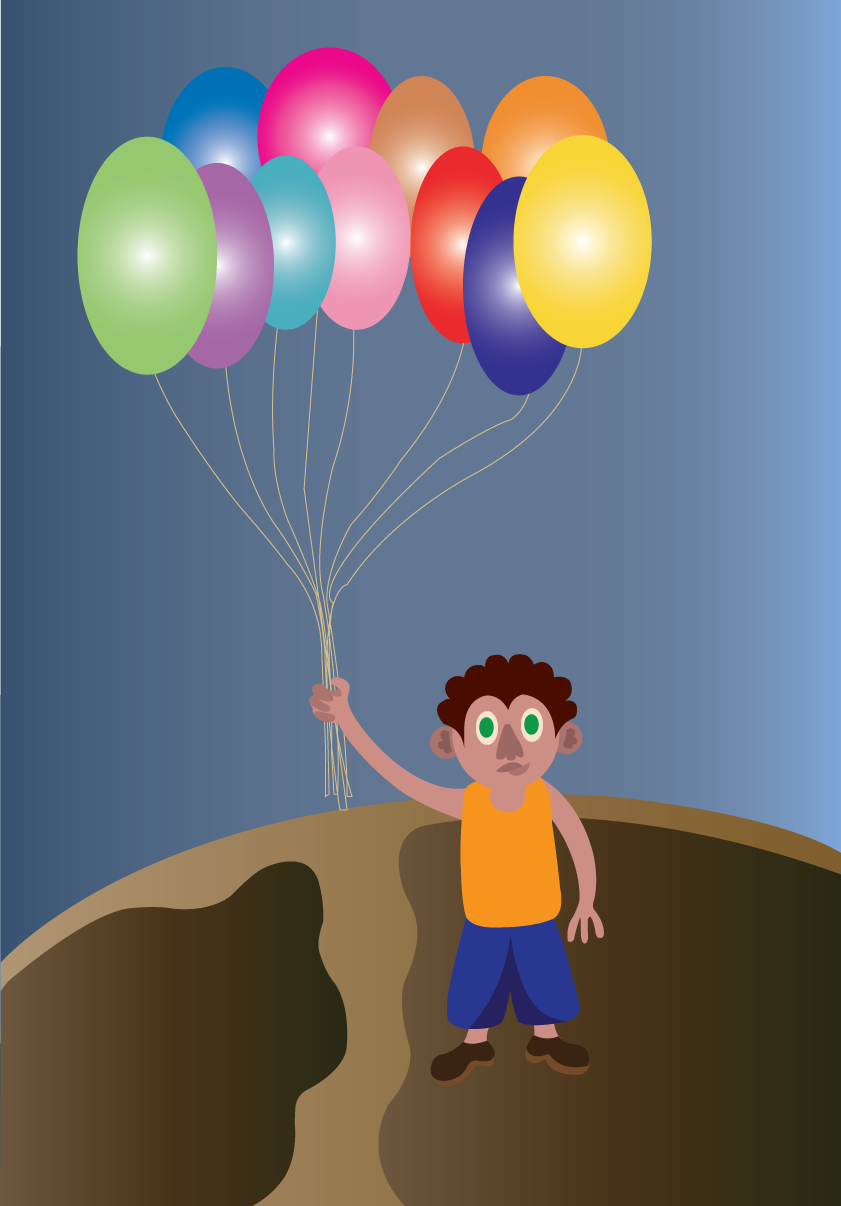 Vector Issue #6474: birthday balloons, kid holding up balloons for his birthday