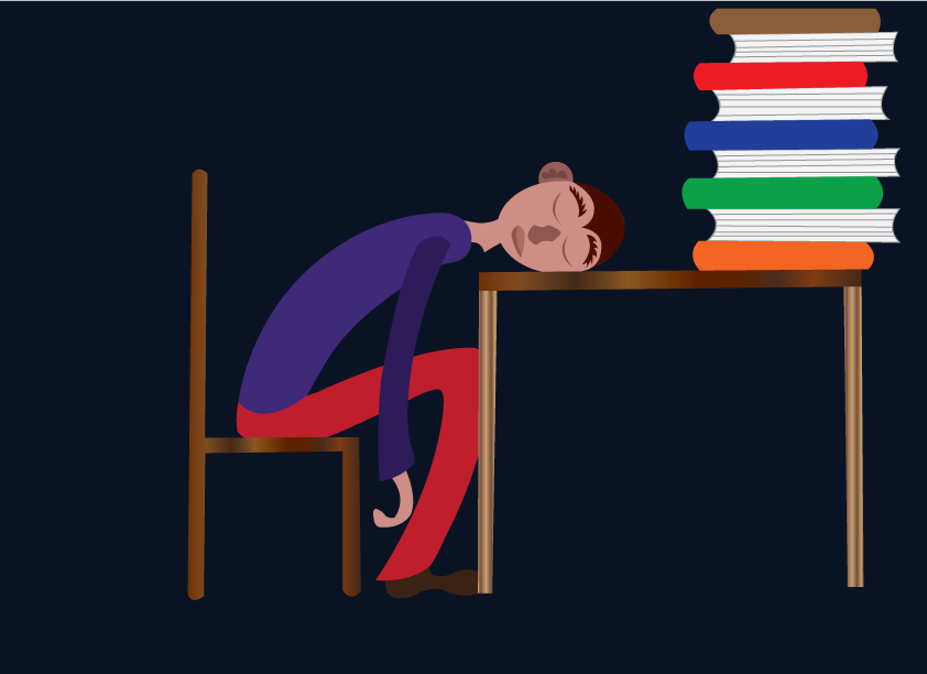 Vector Issue #6476: bookworm 2-an exhausted student sleeping on his study table