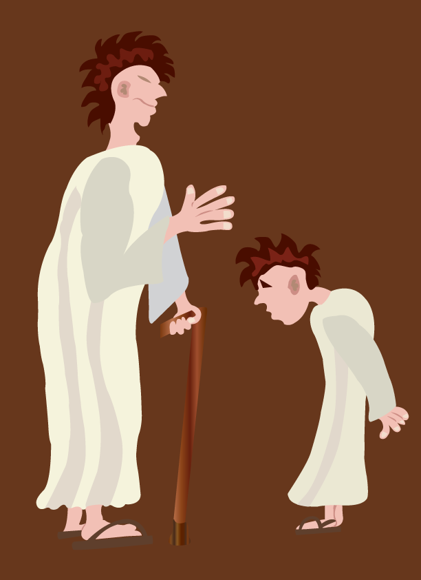 Vector Issue #6389: bowing respect, a youngster bowing to an elder from mutual respect.