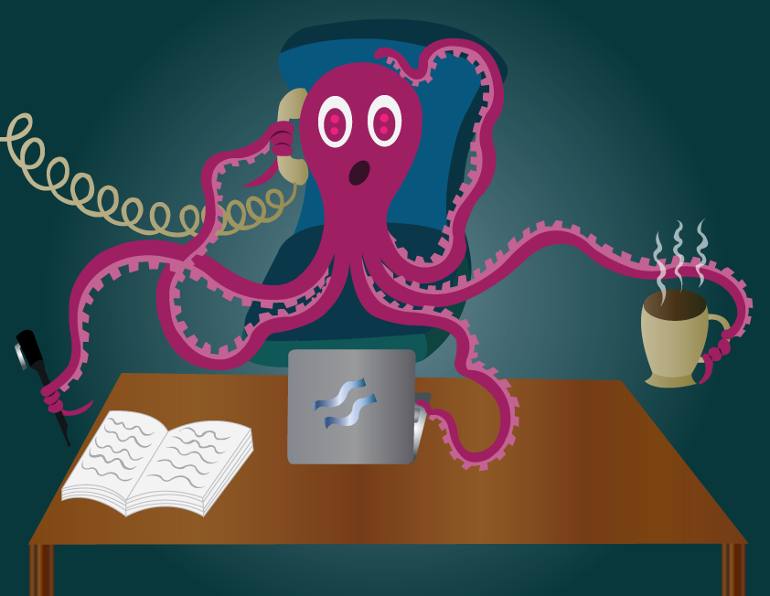 Vector Issue #6479: My Busy Day Schedule, an octopus in office handling numerous tasks,