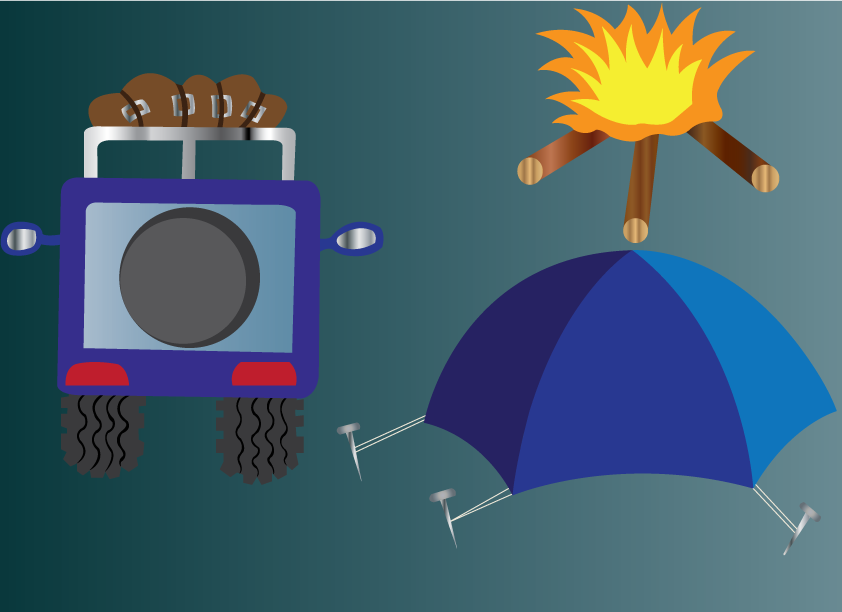 Vector Issue #6480: camping expedition 1-an adventurer camping out for the night.