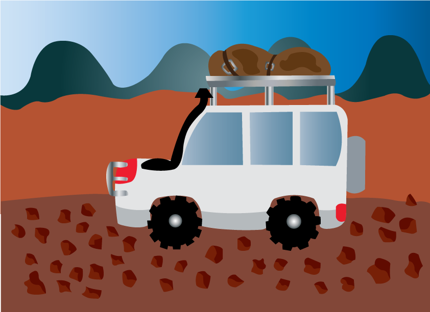 Vector Issue #6481: camping expedition 2-an adventurer driving along a rough road.