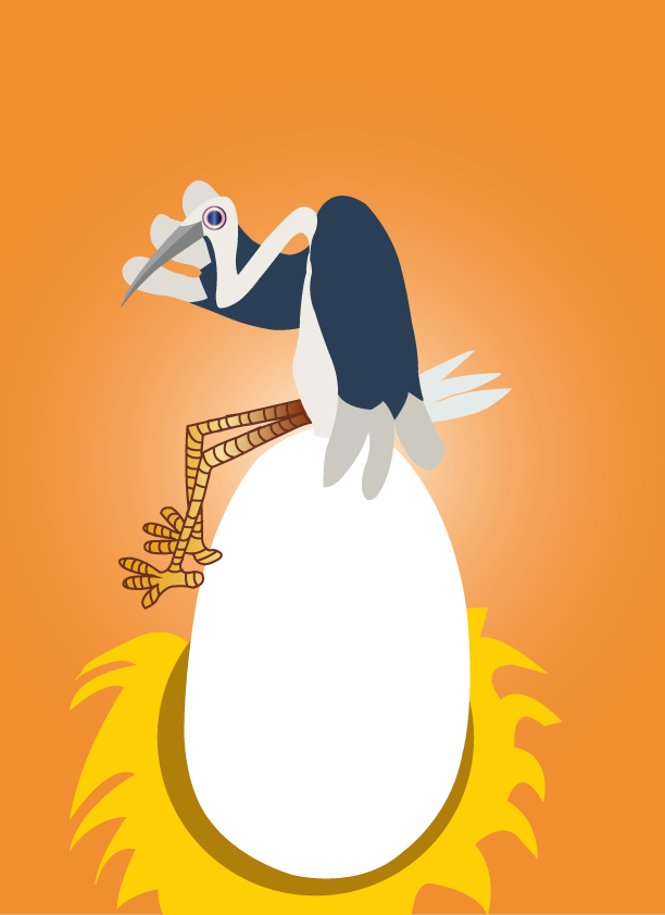 Vector Issue #6391: Charlie's chicken, a chicken sitting on an egg waiting for it to hatch
