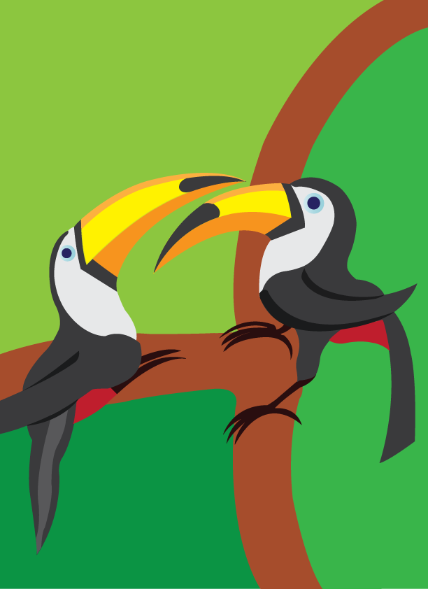Vector Issue #6394: the love birds 3, two toucans perching on a tree branch