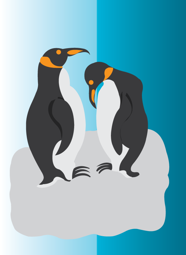 Vector Issue #6395: the love birds 4, penguins couples standing on a floating iceberg