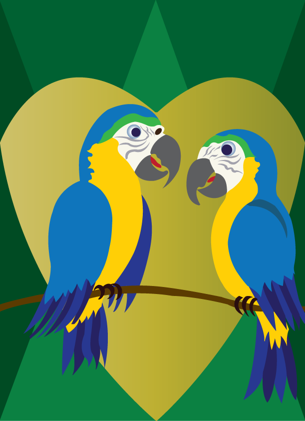 Vector Issue #6396: the love birds 5, The World Beloved Blue Macaws, two love birds of paradise starring at one another on a tree branch