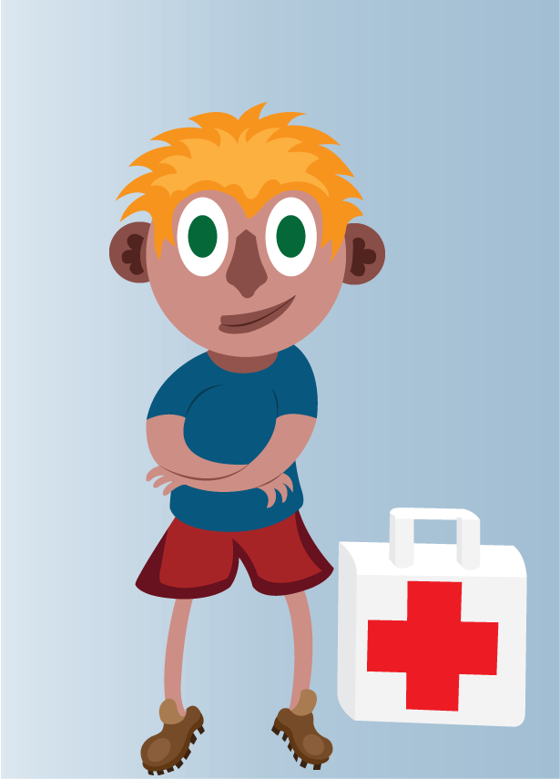 Vector Issue #6506: first aid boy, a boy with a first aid kit