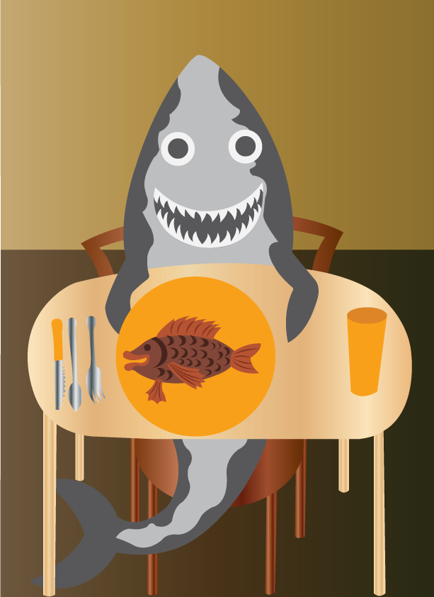Vector Issue #6507: fish foods, a shark taking fish for lunch