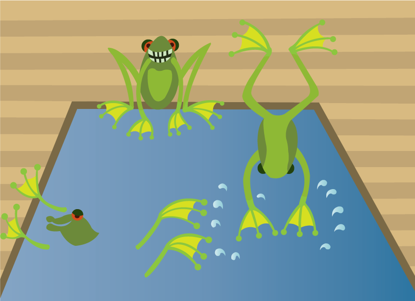 Vector Issue #6514: A visit to the frogs kingdom-frogs enjoying themselves in a swimming pool