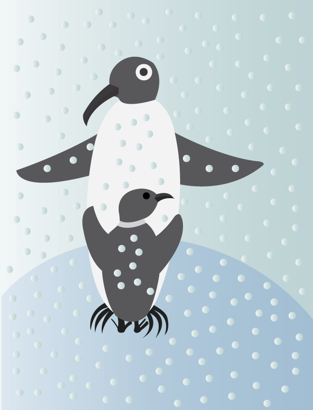 Vector Issue #6515: Give me a hug- a penguin baby hugging its mother