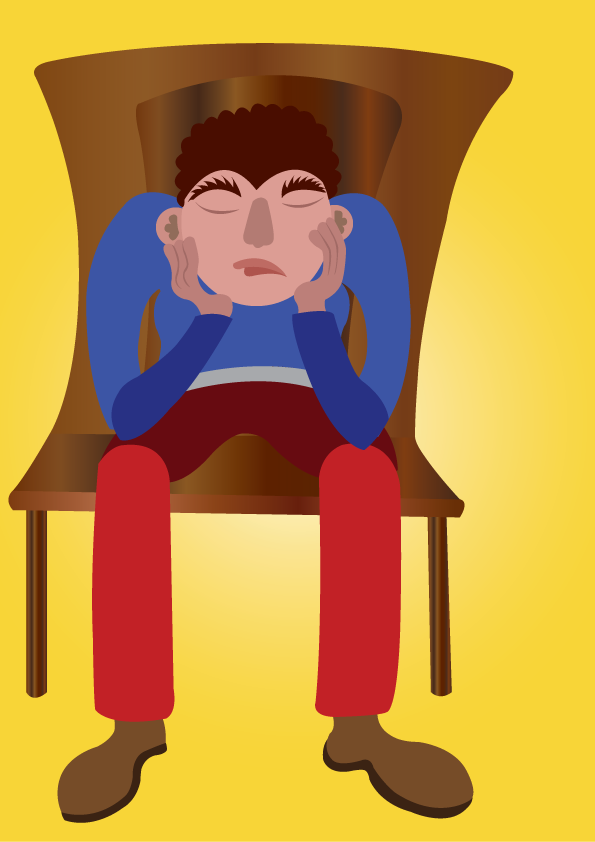 Vector Issue #6477: a disappointed guy sits down while holding his head