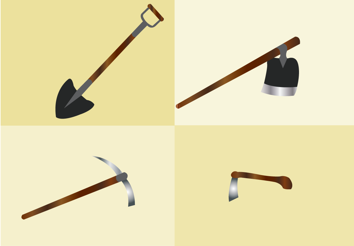 Vector Issue #6517: hand digging tools-tools used for digging soils and ploughing