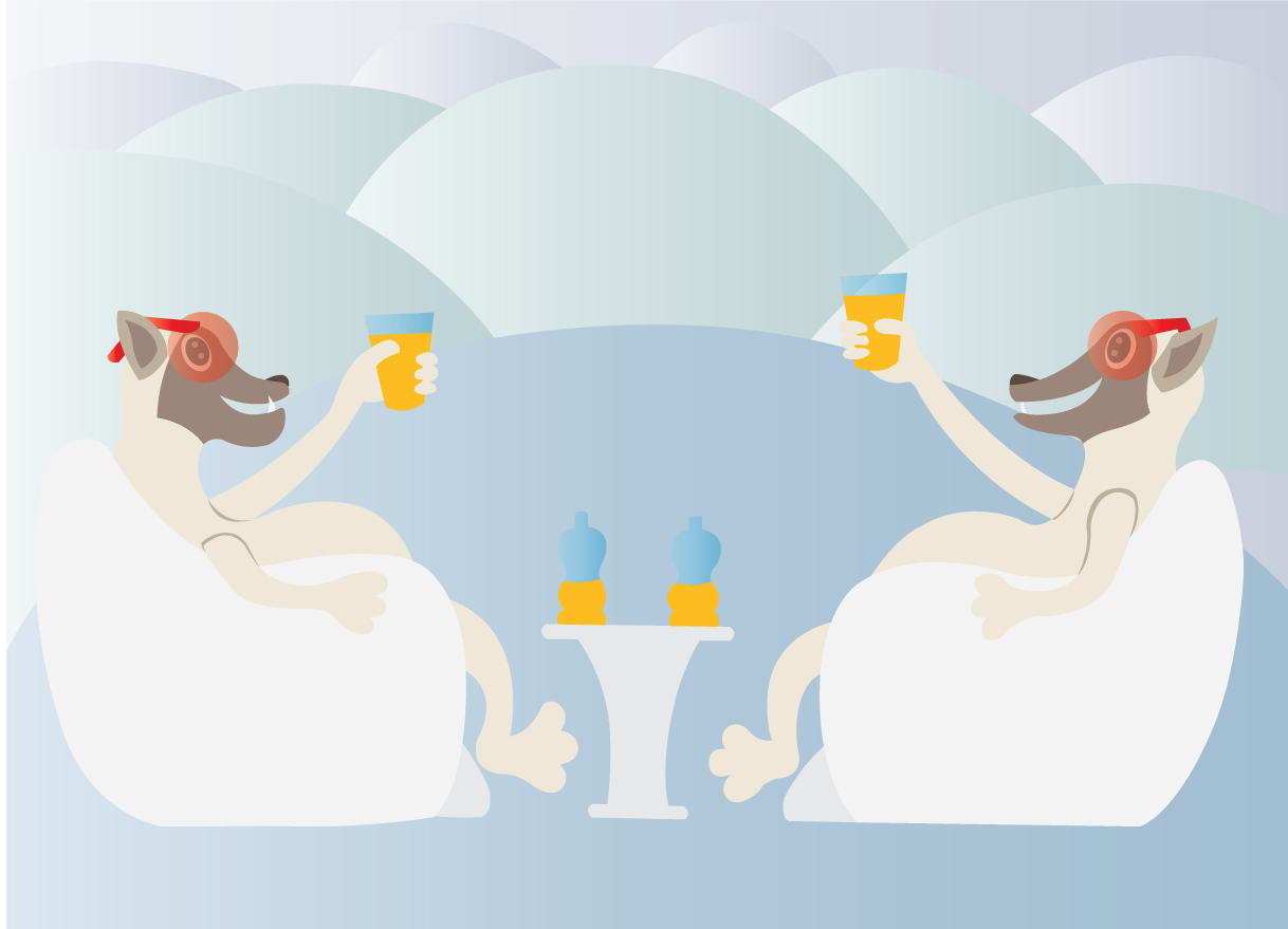 Vector Issue #6520: Ice cold drink – bears enjoying themselves with a drink on top of  a cold winter ice